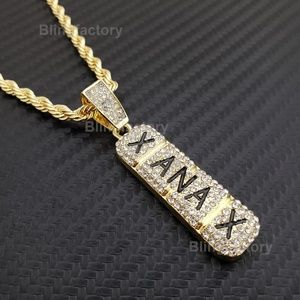 "Gold plated Xanax Pendant & 4mm 24"" Rope Chain"